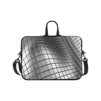 Personalized Laptop Shoulder Bag 3D Silver Chrome Cubes Handbags 17 Inch