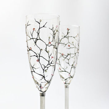 Toast Wedding Champagne Glasses Hand painted Sakura Cherry Blossom Design Light Rose Swarovski Crystals set of 2