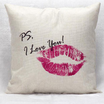 Manufacturers Selling Red Lips Text Decorative Throw Pillow Home Sofa Back Cushion For Valentine's Day Present