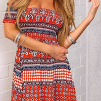 Tribal Geo Print Strapless Mini Dress