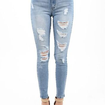 Cali Shredded Light Skinny Denim