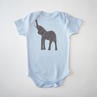 Elephant Organic Bodysuit in Light Blue and Shimmer Bronze