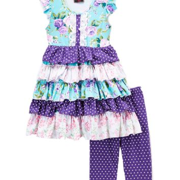 Purple Floral Tiered Dress Top & Leggings Set
