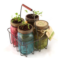 Garden Jars - self-watering planter kits featuring four fabulous kitchen herbs