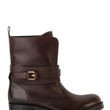Versace Womens Brown Leather Strappy Ankle Boots