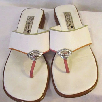 Brighton Leather Sandals Size 7 1/2 M White Made In Italy