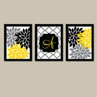 Yellow Black Wall Art Monogram Print Flower Wall Art Family Initial Print Wedding Gift Wall Art Girl Bedroom Wall Art Set of 3 Home Decor