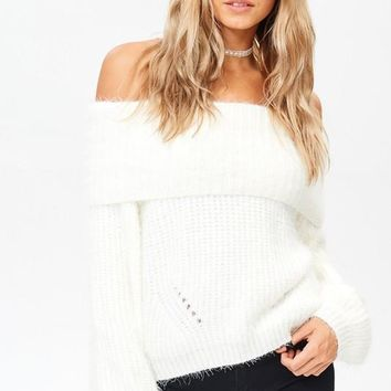 Off Shoulder Wool Sweater - White