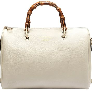 Gucci White Bamboo Shopper Leather Tote Bag
