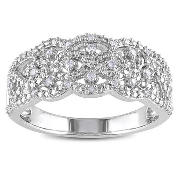 Sterling Silver 1/10ct TDW Diamond Ring (H-I I2-I3) | Overstock.com Shopping - The Best Deals on Diamond Rings