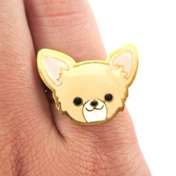 Chihuahua Puppy Face Shaped Adjustable Animal Ring in Tan | Limited Edition