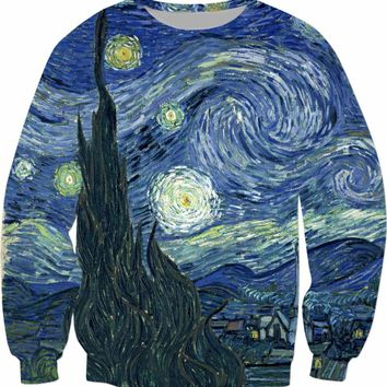 Starry Night Sweatshirt Van Gogh Oil Painting Hoodies Casual Spring Outfits Fashion Clothing Pullover Tumblr Jumper Tops S-5XL
