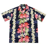 orchid play navy hawaiian rayon shirt