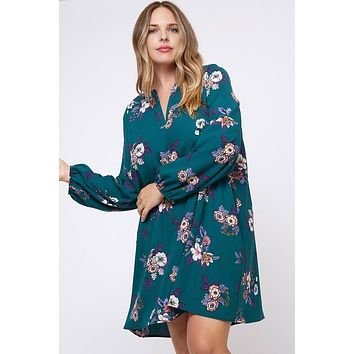 Beryl Green Floral Dress | Plus