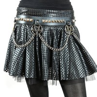 "Hanging Silver 2"" Inverted Pentagram & Pyramid Studs & Chains Black Leather Belt 1-1/2"" Wide"