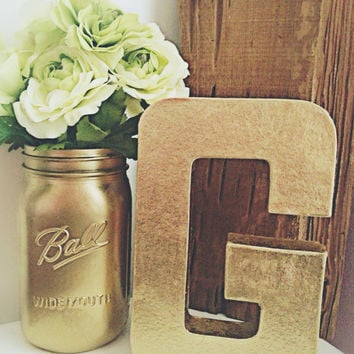 metallic gold letter gold number wedding table letters stand alone giant letter - Letter Decor