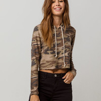 SKY AND SPARROW Camo Womens Crop Hoodie
