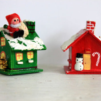 pair of vintage wooden Christmas houses // Christmas village // ornaments // russ berrie