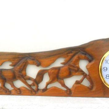 "Teak Wood Carving Horse With Clock Home Wall Hanging Home Art  Decor Hand Carved 42"" X 12"""