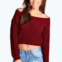 Kate Crop Slash Waffle Knit Jumper