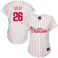 Chase Utley Philadelphia Phillies Women's #26 Majestic Replica Jersey - White Pinstripe