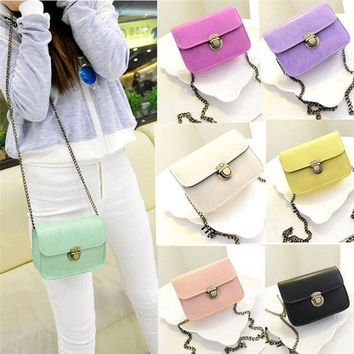 Handbag Womens Long Chain Candy Color Messenger Shoulder Bag Tote Crossbody [8321373191]