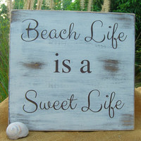 Beach Life is a Sweet Life-Wooden Sign Home Decor-Wall Gallery Home Trends-Beach Home Decor