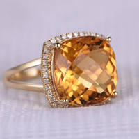 10.56ct Cushion Citrine Engagement Ring Diamond Wedding Ring 14K White Gold Halo Split Shank