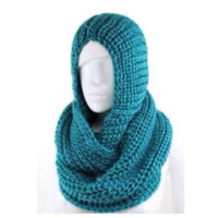 """Classic"" Thick Crochet Turquoise Hooded Infinity Scarf"