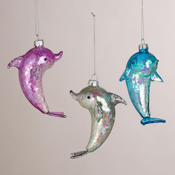 Sparkling Glass Dolphin Ornaments, Set of 3 - World Market