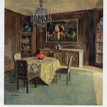 "Color Scheme Print - 1923 - ""BERLIN - SKETCH FOR A DINING ROOM"" - Decorative Lithograph"
