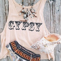 Letters Print Casual Tank Top