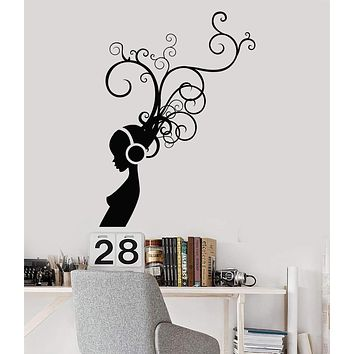 Vinyl Wall Decal Girl In Headphones Music Room Musical Art Stickers Unique Gift (ig3978)