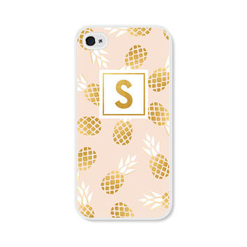 Pineapple Phone Case - Monogram Phone Case - Monogrammed Gifts - Pineapple iPhone 5 Case - Pineapple iPhone 6 Case - iPhone 5c Case - Gold
