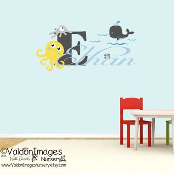 Ocean nursery decor, beach nursery decal, personalized wall decal, kids room decor, whale wall decal, childrens name decal, nautical nursery