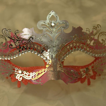 Gorgeous Pink&Silver Venetian Style Masquerade Laser cut Mask