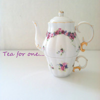 Vintage Tea for One Teapot and Cup Tea Party Cottage Style Table Decor