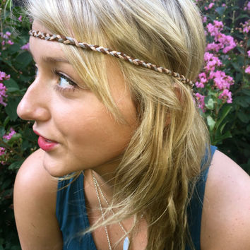 """34"""" Festival Braided Headband with Feather Ends"""