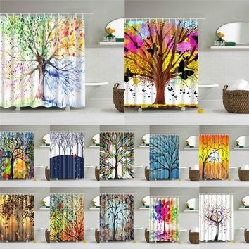 Abstract Tree Pattern Washable Multichoice Lot Bath Screen Accessories for Home Decoration 12 Hooks Bathroom Shower Curtain