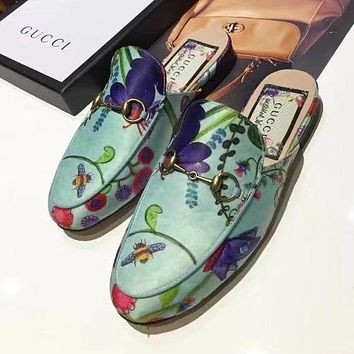 GUCCI Flower Print Women Fashion Half Slipper Mules Shoes