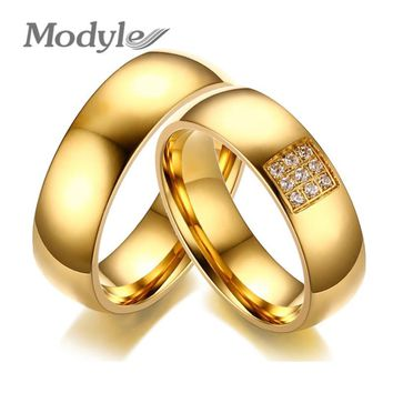 Modyle 2017 Simple Wedding Rings for Women Men Elegant AAA CZ Stones Gold-color Ring Alliance Promise Engagement Band Gift