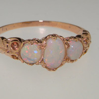 9K Rose Gold Genuine Colorful White Opal Ring, English Victorian Eternity Band, 3 Stone Trilogy Promise Ring - Customize:14K,18K Gold