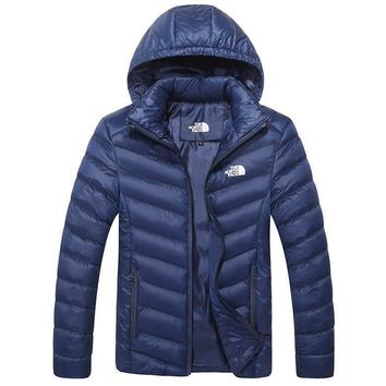 The North Face Winter Fashion Unisex Couple Sports Cotton Coat Windbreaker Hoodie Dark Blue