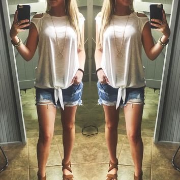 Knot Interested Top-White