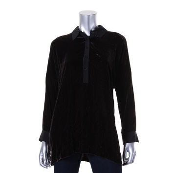 Lafayette 148 New York Womens Petites Velvet Drapey Tunic Top