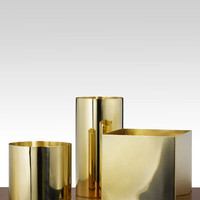 Polished Brass Cube And Cylinders - contemporary - vases - by Jamali Floral & Garden Supplies