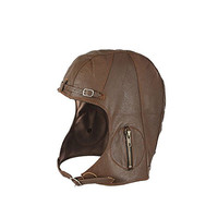 WWII Replica Vintage Style Leather Pilots Helmet Aviator Military Cap (M/L, Brown)