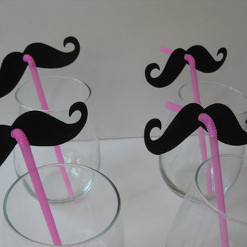 Mustache and Pink Straw Photo Props Set of by olivetreemonograms