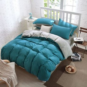pure color  bedding set, King queen size bed line/bedclothes+colourful 4 colors bedding