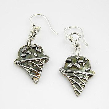 Ice Cream Cone - With Sprinkles - Pure Fine Silver Earrings